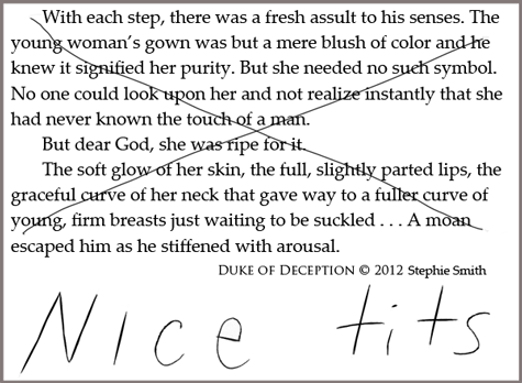 "paragraph from historical romance novel marked through with ""nice tits"""