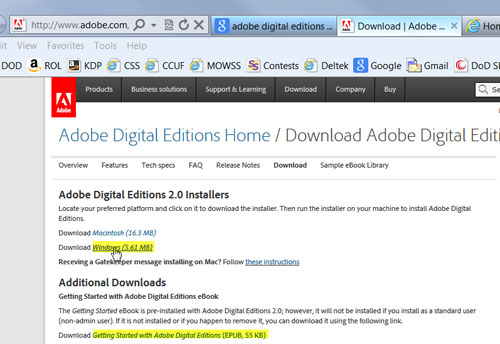 screen shot to download Adobe Digital Editions