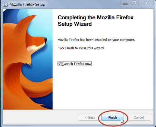 finishing Mozilla Firefox installtion