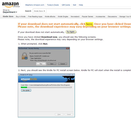 Figure 3 - The final Amazon window for installing Kindle for PC.