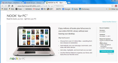 Nook for PC download page