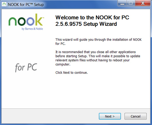 The PC for Nook installation Wizard.
